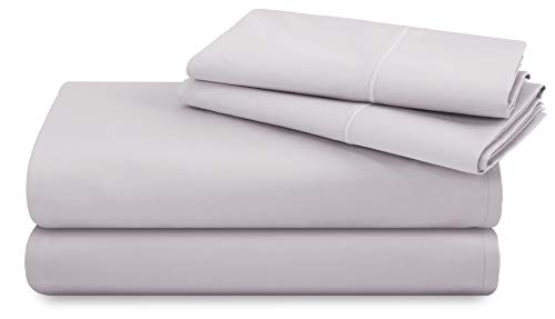 TRIDENT 600 Thread Count Queen Sheets, 100% Cotton, Sateen Weave, deep Pockets fit Upto 18 inch, Wrinkle Resistant, 4 Piece Sheet Set, Techno-fit, Luxury Hotel Collection (Lilac Marble, Queen)