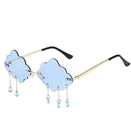 Tiop Gafas de sol sin montura para mujer, modernas, vintage, nubes, con forma de nube, borlas, ovaladas, color caramelo