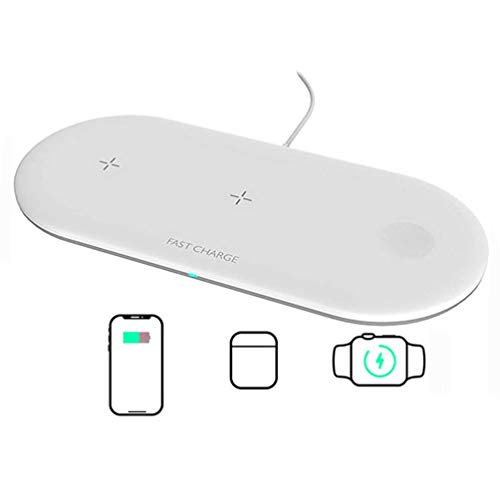 Cargador Inalámbrico Rápido,Bobinas Dual Fast Wireless Charger Qi para AirPods 2/1/AirPods Pro,Apple Watch Series 5/4/3/2/ 1,iPhone 11/11 Pro/ 11 Pro Max