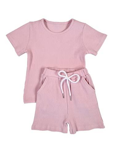 Conjunto de verano unisex recién nacido bebé niña pijama conjunto de ropa de algodón acanalado trajes unisex de color sólido ropa de salón de manga corta tops cortos 2 piezas
