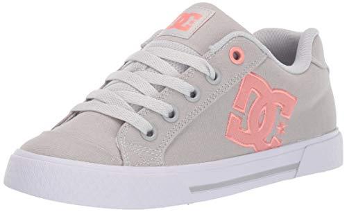 DC Women's Chelsea TX Skate Shoe, Grey/Pink, 5 M US