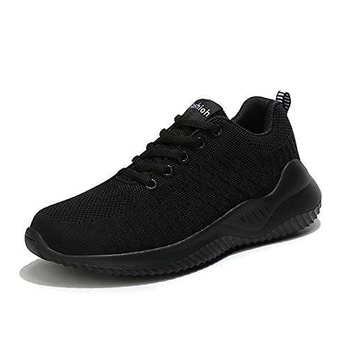 A/U Zapatos deportivos transpirables para mujer, zapatos deportivos de punto ligeros que caminan zapatos deportivos, Black, 40.5 EU