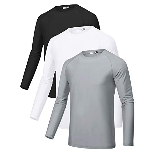 Sykooria 3 Piezas Camisetas Manga Larga Hombres Deporte UPF 50+ Protección UV,...