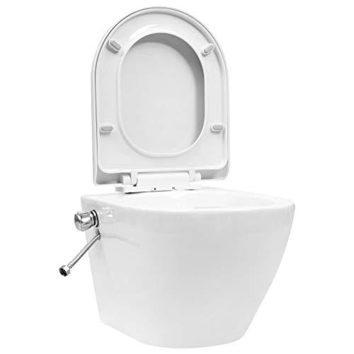 vidaXL Wand WC ohne Spülrand mit Bidet-Funktion Spülrandlos Absenkautomatik Softclose Hänge Toilette Bidet Taharet Badezimmer Keramik Weiß