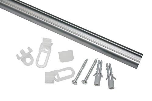 GARDINIA Aluminiumschiene 13 mm, 1-läufige Vorhangschiene, Inklusive Zubehör, Länge: 150 cm, Aluminium