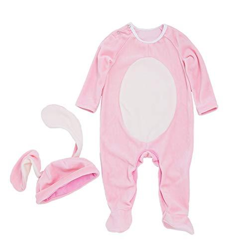 Fenical Strampler Kaninchen Ohrenschützer Einteilige Kostüm Sets Niedlich Langarm Hase Strampelanzug L für 6-12 Monate 2 stücke