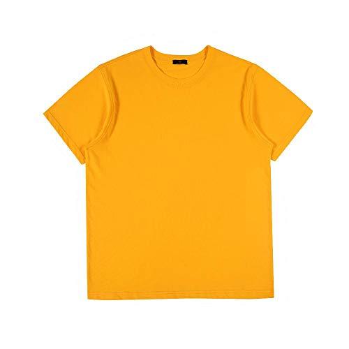 Camiseta de cuello redondo para hombre, de manga corta, suelta y sólida Amarillo amarillo L