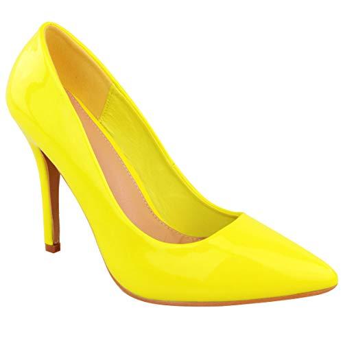 Fashion Thirsty Damen Leuchtend Fluoreszierender Neon Spitze Pumps High Heels Größe - Neongelb, 39