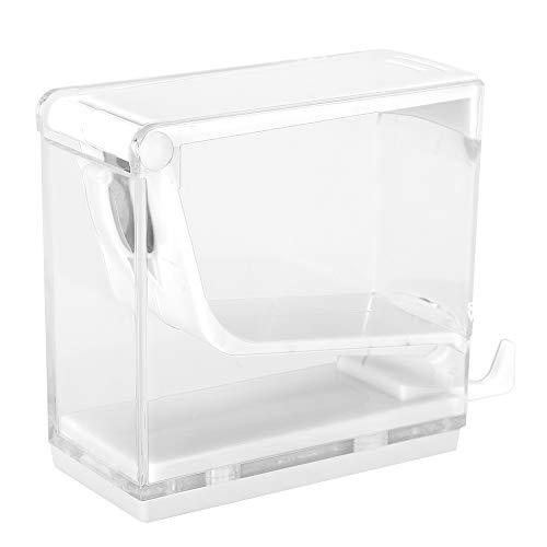 4 Farben Cotton Roll Dispenser Divider Press Type Halter, Wattestäbchen-Aufbewahrungsbox, Acryl Cottonball Organizer mit Ausziehschale(White)