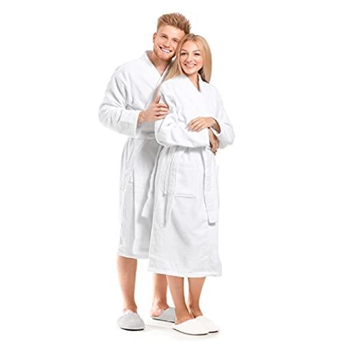 Texan Bathrobe Terry Bathrobe 100% Cotton Shawl Collar Unisex, Luxury Bathrobe Towel, Spa Robe Combed, Men Women Soft Robe, White, Large