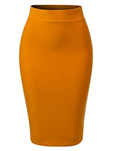 MixMatchy Women's Casual Classic Bodycon Pencil Skirt Mustard M