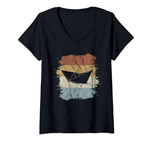 Damen Faltboot Kapitän Retro Nordsee Ostsee Papier-Schiff T-Shirt mit V-Ausschnitt