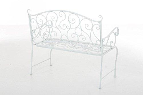 CLP Metall Gartenbank TUAN, 2-er Sitz-Bank Garten, Eisen lackiert, Design nostalgisch antik, 105 x 50 cm Weiß - 3