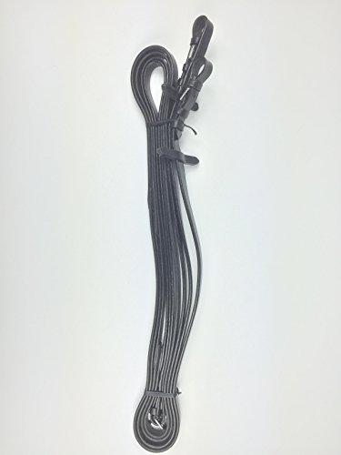 gs-sports Zügel, Langer Zügel, lang Zügel, 6m, Leder, schwarz- silberfarbene Schnallen