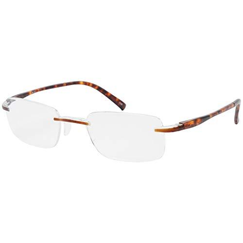 藤田光学 老眼鏡 メンズ 2.0 度数 ふちなし マットブラウン デミ TP-21 +2.00