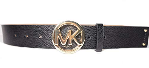 Michael Kors Womens Black Leather Belt Gold Buckle