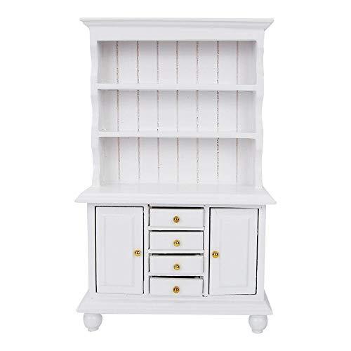 Vitrina de casa de muñecas, armario de tres capas, librería de casa de muñecas, escala 1/12, tamaño pequeño y ligero, dormitorio para regalos de niños en casa(white)