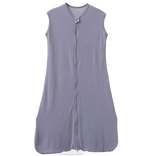 Babyschlafsack Sommerschlafsack Baby Frühling Schlafanzug Kinder Schlafsack Sommer 0.5 Tog (130CM/3-6Jahre, Grau Einfarbig)