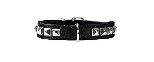 HUNTER ROCKY PETIT Hundehalsband für kleine Hunde, Leder, Nappaleder, weich, rockig, Nieten-Besatz, 27 (XXS-XS), schwarz