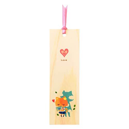 shiorifan 猫のかわいいジャンル別しおり 国産ヒノキの薄板使用 (恋愛小説用)