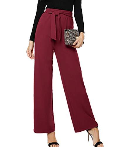 CNFIO Pantaloni Donna Eleganti Vita Alta Casual con Cintura a Vita Alta Decorato con Fiocco
