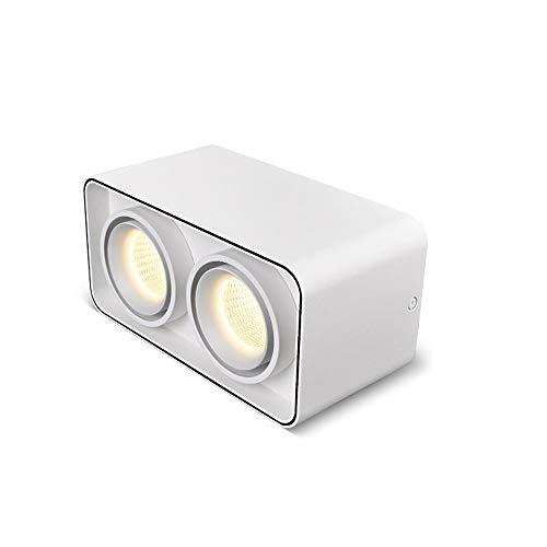 Wlnnes Foco montado en la superficie de la superficie del ángulo ajustable del hogar Blanco 7W / 2 * 7W Lámpara de techo de doble cabeza CRI93 Fijo de iluminación de oficina de alto color AC110V-240V
