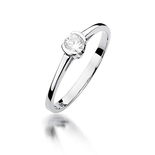 Women's Solitaire Promise Ring Engagement Proposal Ring 585 14k Gold White Gold Natural Real Diamond Diamonds Diamonds