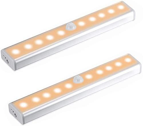 Sensor luz del armario,10 LED luz del armario,bajo el armario,funciona con batería de iluminación con tira magnética pegada, pegado en cualquier lugar