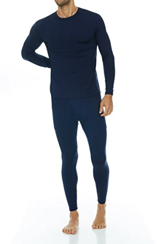 Thermajohn Men's Ultra Soft Thermal Underwear Long Johns Set with Fleece Lined (Large, Navy)