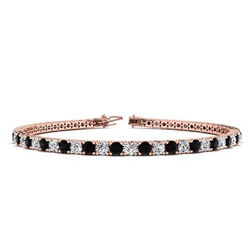 Silvernshine Jewels - Bracciale tennis con diamanti sintetici, taglio rotondo da 5,04 carati, placcato oro bianco 14 carati, colore: Nero e Argento, colore: Rosa, cod. SNSB298-RG_9