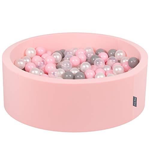 KiddyMoon 90X30cm/200 Balles ∅ 7Cm Piscine À Balles pour Bébé Rond Fabriqué en UE, Rose: Perle-Gris-Transparent-Rose Poudré
