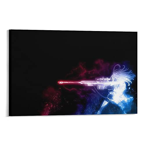 Badass Gun Anime Poster Decorative Painting Canvas Wall Art Living Room Posters Bedroom Painting 24×36inch(60×90cm)