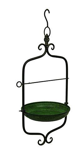 Green Vintage Style Scroll Motif Metal Hanging Bird Feeder