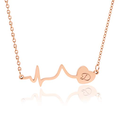 WDSHOW Heartbeat D Initial Necklace for Women Girl