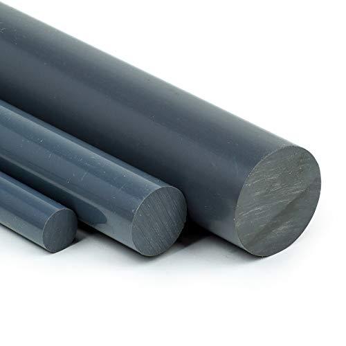 PVC Rundstab grau Ø 45mm   L: 350mm (35cm) PVC-U Kunststoffstab auf Zuschnitt