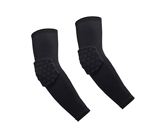 1 Pair / 2 Pcs Honeycomb Elbow Pads Crashproof Arm Sleeves Basketball Football Volleyball Protector Padded Support elbow Brace Shin Guards Protective Gear for Girls Boys Kids Men (Black, Medium)
