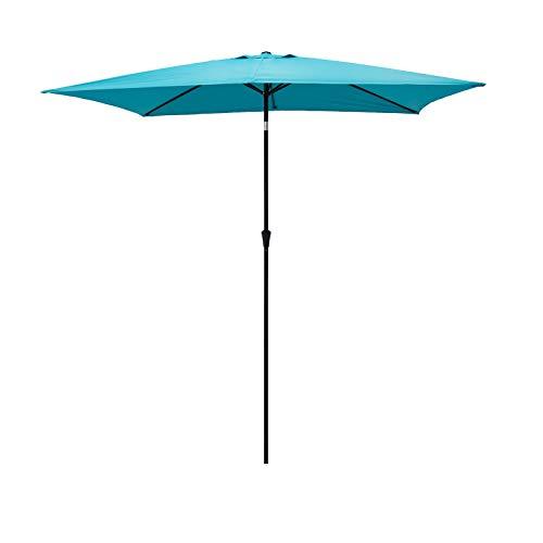 FLAME&SHADE 6.5 x 10 ft Rectangular Outdoor Patio and Table Umbrella with Tilt - Aqua Blue