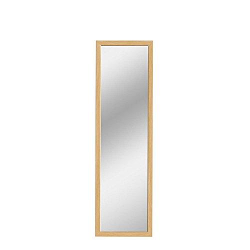 Mirrotek Over The Door / Wall Mounted Jumbo Sized Wood Framed Hanging Door Mirror, Oak Finish