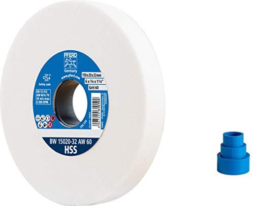 PFERD Schleifbockscheibe, 150x20x32, Ausführung HSS, Korngröße 60, Edelkorund weiß, 39008424 – Schleifbockscheibe für das Bearbeiten hochlegierter Stähle mit integrierten Reduzierhülsen (25/20/16mm)