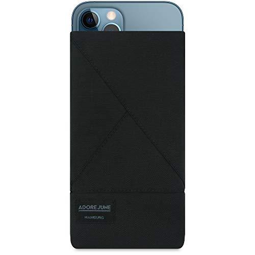 Adore June Tasche Triangle kompatibel mit iPhone 13 Pro Max/iPhone 12 Pro Max, Elegante Handytasche aus beständigem Textil-Stoff mit Bildschirm-Reinigungseffekt, Schwarz