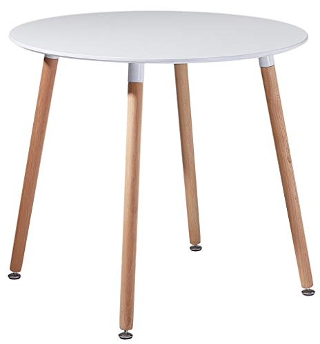 DORAFAIR Rund Esstisch Skandinavisch Küchentisch Modern MDF Esszimmertisch,Büro Konferenztisch Weiß Kaffeetisch,80 * 80 * 72 cm, 4 Beine Natur, Weiß