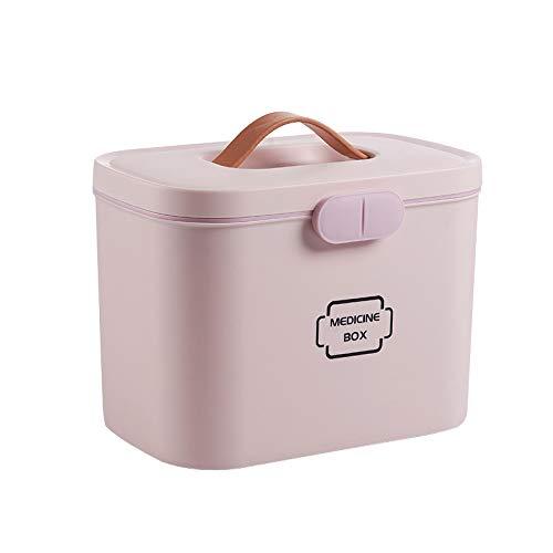 Domilay Caja de PláStico de Primero Auxilio Gran Capacidad de Dos Capas Caja MéDica Caja de Almacenamiento Grande Caja de Medicina Contenedor de Emergencia Caja MéDica para el Hogar-Rosa
