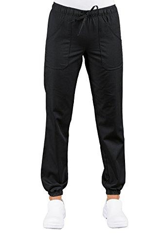 Pantaloni Medicale Infermiere Nero Uomo Donna Con Elastico Sulla Caviglia Super Stretch 044879 (S)