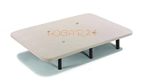HOGAR 24 Base Tapizada con Tejido 3D y Válculas de Transpiración y 6 Patas De Metal De 25.5 cm, 135x190cm