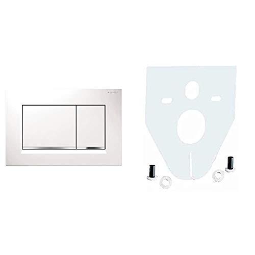 Geberit Revisionsplatte Sigma 30 | Betätigungsplatte mit Zwei-Mengen-Spülung | Drückerplatte | Weiß | 115883KJ1 & Cornat SSWWC Schallschutz-Set für Wand-WC und Wand-Bidet