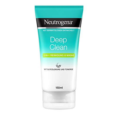 Neutrogena Deep Clean2-in-1 Reinigung und Maske, klärende Gesichtsreinigung und Gesichtsmaske mit Glycolsäure und Tonerde (1 x 150 ml)