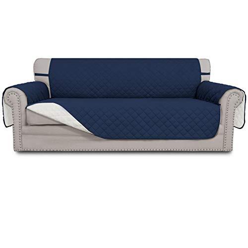Easy-Going Funda reversible para sofá de 4 plazas, resistente al agua, con varillas de espuma, protector de muebles para mascotas, niños, perros, gatos (201,3 cm, azul marino/marfil)