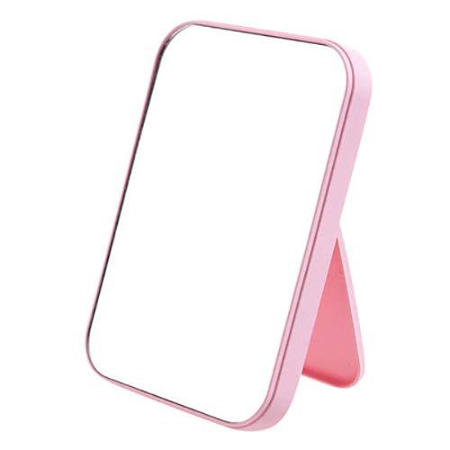 Coobbar Desktop Makeup Mirror,Foldable Makeup Mirror Simple Portable Princess Mirror Square Mirror Makeup Mirror for Women (Pink)