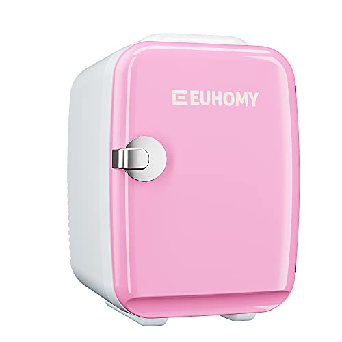 Euhomy Mini fridge for bedroom, 4 L / 6 cans Portable fridge & Electric Cooler and Warmer, Car fridge with AC/DC, Small fridge for room, office, dorm. Mini fridge for skin care and cosmetics.(Pink)