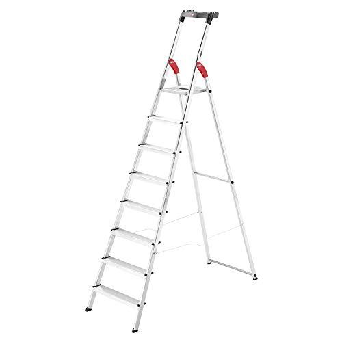 Hailo L60 StandardLine Alu-Sicherheits-Stehleiter , Leiter 8 Stufen belastbar bis 150 kg , stabile Holmführung , Stehleiter mit Ablage , klappbare Aluleiter made in Germany , Leiter rostfrei , silber
